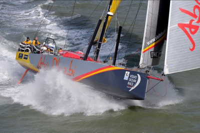 Azzam Abu Dhabi Racing shortly after the start of the Sevenstar Round Britain and Ireland Race 2014 Credit: RORC/Rick Tomlinson/www.rick-tomlinson.com
