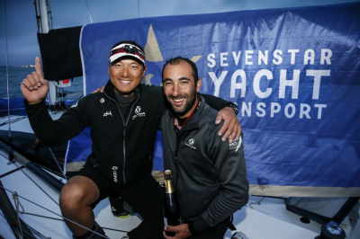 Second overall, IRC two handed winners, and IRC 2: Benjamin Schwartz (FRA) & Chen Jin Hao's (CHN) Figaro 2 El Velosolex SL Energies Group finished the 2018 Sevenstar Round Britain and Ireland Race early today. Their Figaro 2 is the smallest yacht in the race © PaulWyeth/pwpictures.com