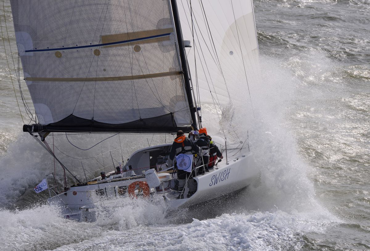 Class40, Swish break the 40ft or less monohull world record, completing the race in 8 days 19hrs 6 mins 49 secs in the 2014 race. Photo: Rick Tomlinson