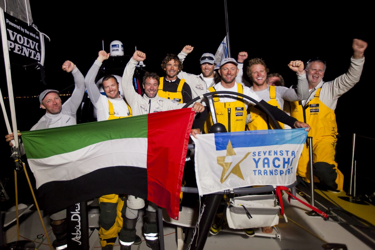 Ian Walker and Abu Dhabi Ocean Racing set the new monohull world record of: 4 days 13 hrs 10 mins 28 secs in the 2014 Sevenstar Round Britain and Ireland Race. Photo: Ian Roman