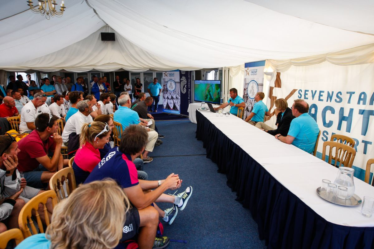 Skippers Briefing at the 2014 Sevenstar Round Britain and Ireland Race. Photo: Paul Wyeth / www.pwpictures.com