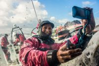 Send a Selfie or some text for the people at home. Photo: Team SCA, 2014 Race