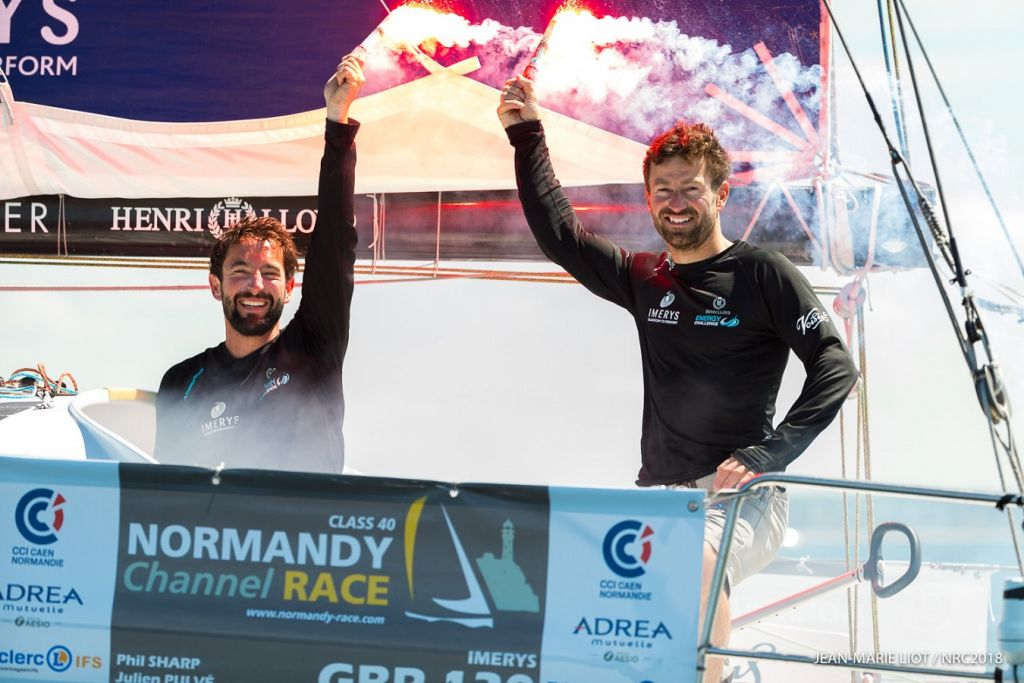 Phil Sharp's Class40 Imerys is set to compete in the RORC's Sevenstar Round Britain and Ireland Race in August. Image: After winning the Normandy Channel Race with Julien Pulvé © Jean-Marie Liot/NCR2018