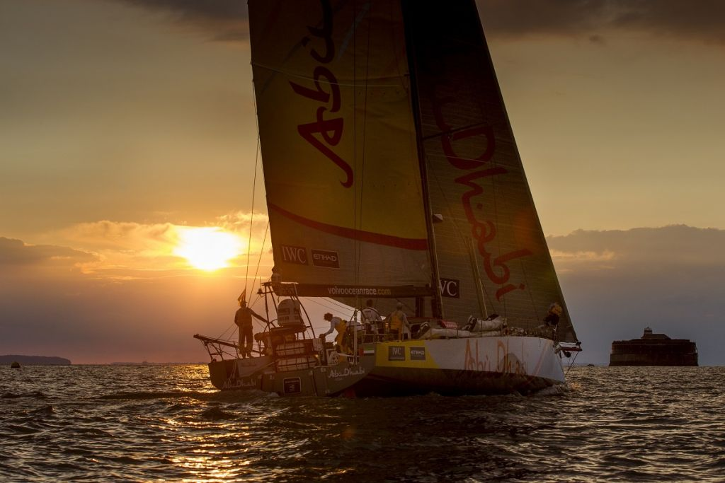 Approaching the Solent at sunset in the 2014 race © Ian Roman