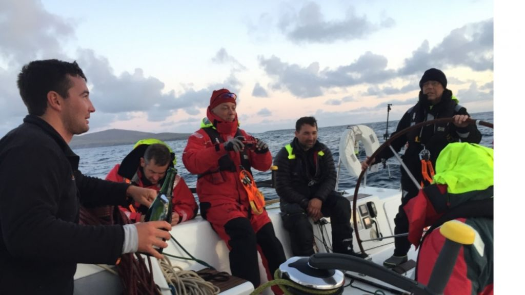 Sailing Logic's First 40 Arthur, skippered by Jonathan Tyrrell, celebrate at Muckle Flugga