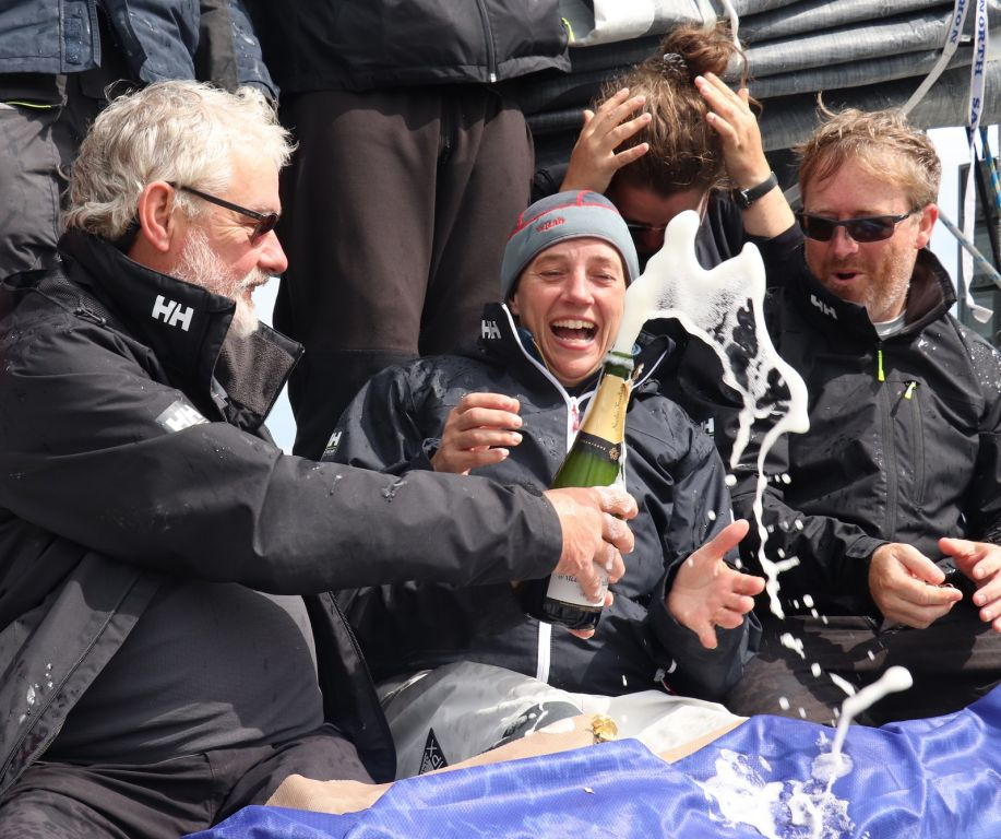 Taking part in the race was a birthday present for Alan Baird (left) on Performance Yacht Racing's EH01. His family were on the dock to greet him after the finish in Cowes © Louay Habib