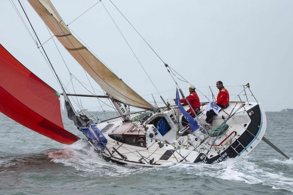 El Velosolex SL Energies Group at the start of the Sevenstar Round Britain and Ireland Race © James Tomlinson/RORC