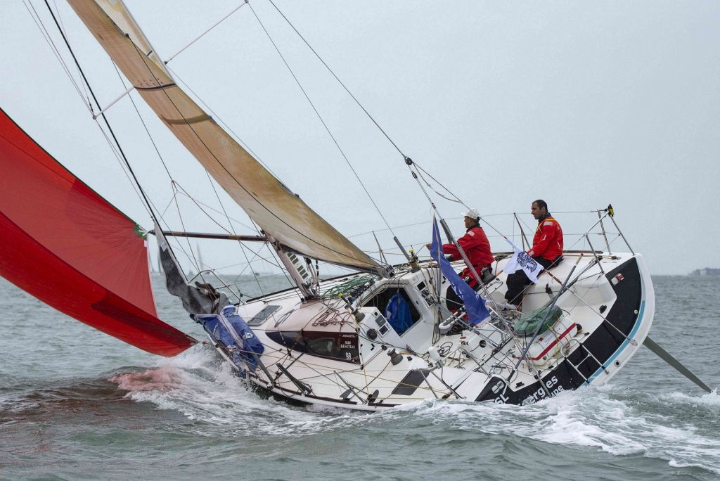 Leading the IRC Two-Handed class, Benjamin Schwartz and Chen Jin Hao racing Figaro El Velosolex SL Energies Group © James Tomlinson
