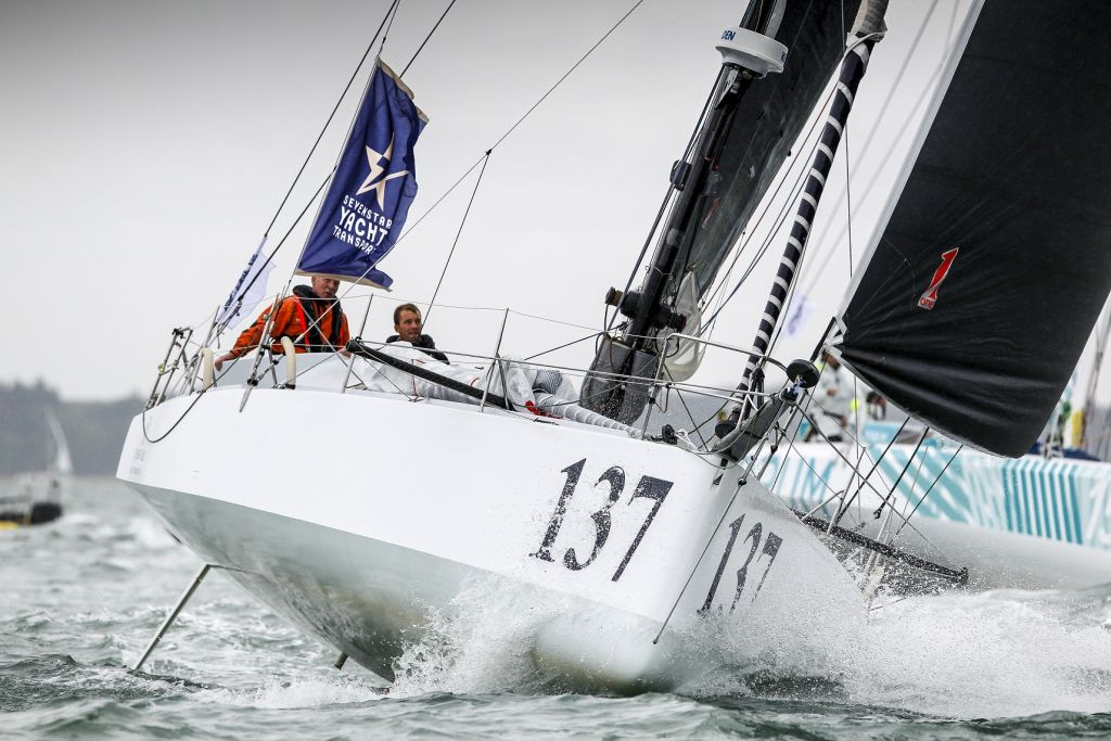 A tactical battle in the Celtic Sea is raging in the Class40s between Corum, Imerys Clean Energy and Phor-ty skippered by Sam Goodchild © Paul Wyeth/pwpictures.com