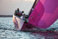 Rare, the bright pink Figaro II sailed by Ian Hoddle.