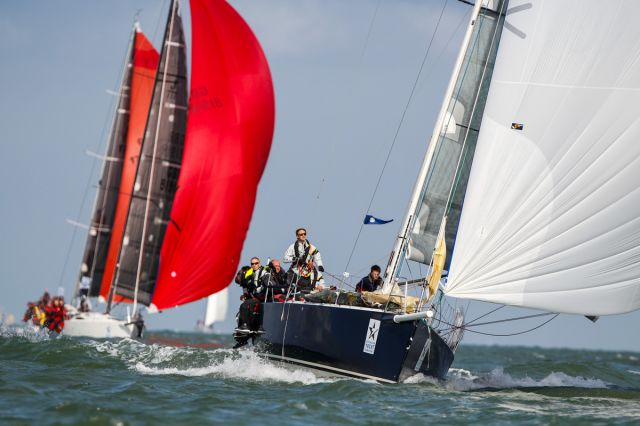 J/122 Relentless on Jellyfish, skippered by James George, leads British Soldier out of the Solent. Photo: RORC/Paul Wyeth pwpictures.com