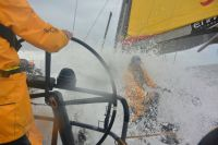 A wet and wild ride on Volvo Ocean 65, Azzam. Credit: Abu Dhabi Ocean Racing/Justin Chisholm