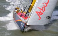 Azzam, Abu Dhabi Ocean Racing carving through the sea at high speed. Credit: RORC/Rick Tomlinson/www.rick-tomlinson.com