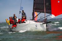 Army Sailing Association's J/111, British Soldier, under spinnaker at the start. Photo: RORC/Paul Wyeth pwpictures.com