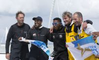 Sidney Gavignet and his team from Musandam-Oman Sail. Credit: Oman Sail/Mark Lloyd