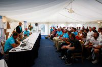 The packed room at the Skippers Briefing. Credit: Paul Wyeth/pwpictures.com
