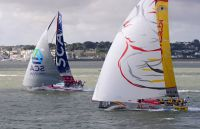 Volvo 65s, Team SCA and Azzam, at the start of the Sevenstar Round Britain and Ireland Race. Photo: Rick Tomlinson rick-tomlinson.com