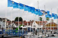 Cowes Yacht Haven flies the Sevenstar flags before the beginning of the race.
