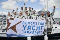 Relentless on Jellyfish celebrates finishing Sevenstar Round Britain and Ireland Race 2014 Credit: RORC/Patrick Eden