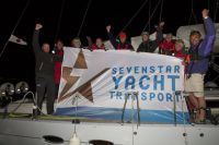 Saga celebrates finishing the Sevenstar Round Britain and Ireland Race 2014 Credit: RORC/Patrick Eden