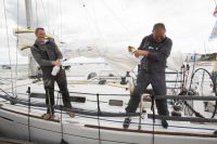 Lula Belle celebrates finishing Sevenstar Round Britain and Ireland Race 2014 Credit RORC/Patrick Eden