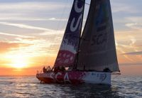 Team SCA's, Volvo Ocean 65, approaches the finish line of the Sevenstar Round Britian and Ireland Race - photo Hamo Thornycroft